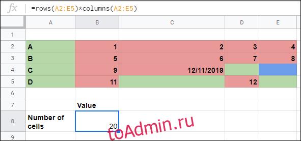 Функции ROWS и COLUMNS, используемые для вычисления количества ячеек в диапазоне в Google Таблицах.