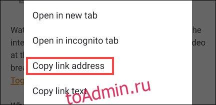 скопировать адрес ссылки